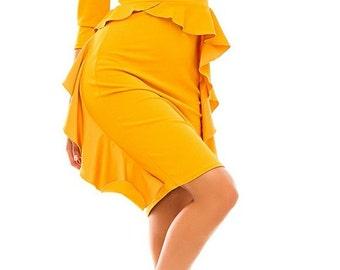 Mustard dress for woman Evening yellow jersey dress Prom dress Reason mustard dress Dress with Basque