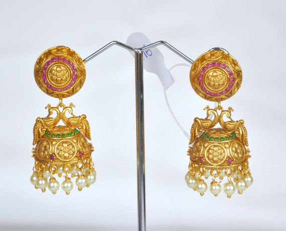 Dainty Antique nagas Jhumkis | Indian Jewelry | Indian Earrings | temple jewelry with faux pearls