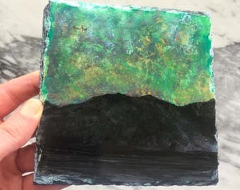Northern Skye Lights - Original Painting On Slate