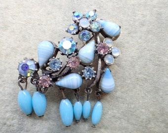 Vintage Signed Florenza Brooch blue dangles and rhinestones AS IS AB521