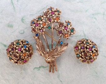 Floral Bouquet brooch and clip on earring set AB988