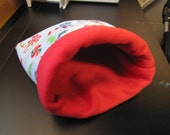 Reversible Fleece Snuggle Sack, Cuddle Sack, Cozy Sack for Guinea Pigs, Ferrets, Hedgehogs, etc.   Candy Cane Pattern with Red