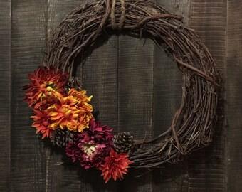 Rustic Fall Wicker Wreath