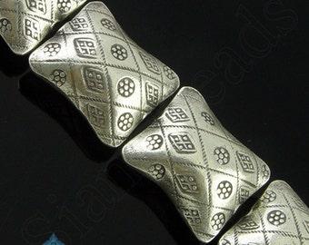 4 BEADS - Thai Karen Hill Tribe Handmade Silver Puffy Rectangle Bead 21mm KBA076