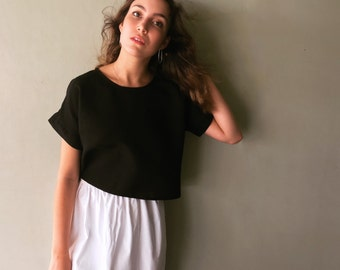 Black Linen Tee - Cropped Linen Tee - Linen Cotton Tee - Black Cropped Blouse - Boxy Tee - Oversized Tee - Womens T Shirt - Square Tee