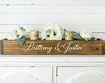 Wood Wedding Centerpiece Box- Personalized Wedding Decor- Sweetheart Table Decor- Rustic Wedding Decor- Woodland Wedding Decor