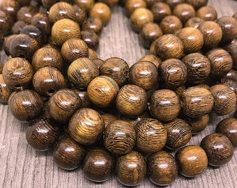 Round Dark Brown Robles Wood Beads, Smooth Round Natural Robles Wood Beads, Dark Brown Waxed Wood Beads, 10mm - 40 beads (W10-11)