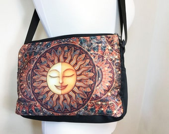 Healing Sunshine Messenger Bag, Shoulder Bag, Original Art Handbag by Dan Morris, Unique gift for her