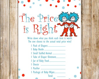 Dr Seuss PRICE IS RIGHT, Dr Seuss Thing 1 Thing 2 Twins Shower Games,