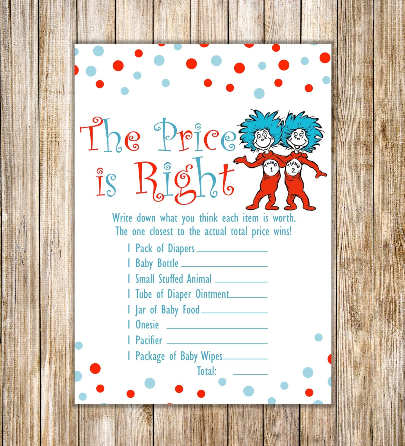 Dr Seuss PRICE IS RIGHT Dr Seuss Thing 1 Thing 2 Twins Shower