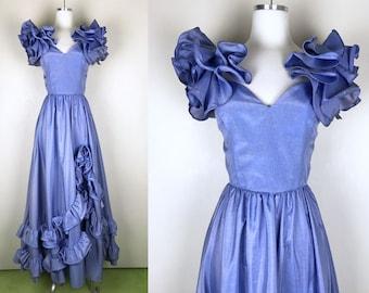 1960s 1970s Periwinkle Blue Purple Ruffle Flamenco Inspired Prom Dress 60s 70s  Sweetheart Neck Puffy Sleeve Ruffle Dress Tiers of Ruffles