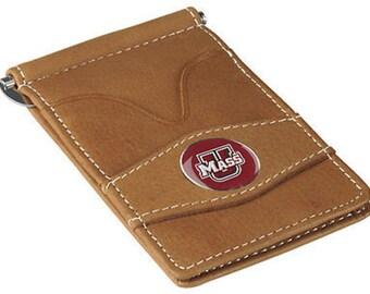 Massachusetts Minutemen Tan Leather Wallet Card Holder
