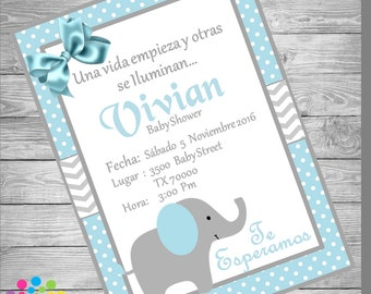 NEW!!!! BLUE ELEPHANT!!! Baby Shower Invitation!!!!!