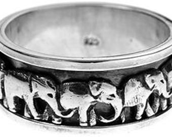 Sterling Silver Parade of Elephants Spinning Ring Spinner Ring Twizzle Ring