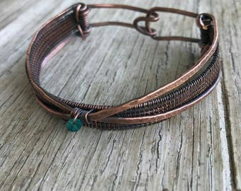 Copper Bracelet//wire weaved cuff// copper jewelry