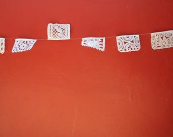 white banners, papel picado flags, mexican flags, wedding decor, medium