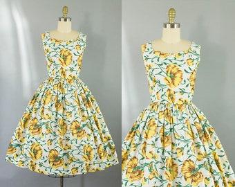 1950s yellow floral day dress/ 50s flower print dress/ medium