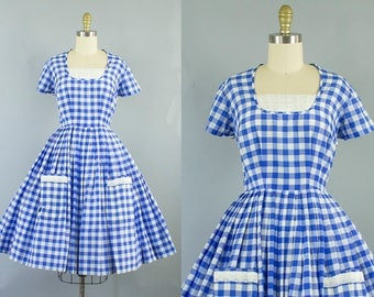 1950s blue gingham dress/ 50s check cotton dress with pockets/ small