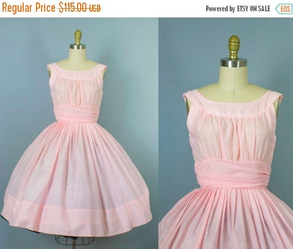 SALE 15% STOREWIDE 1950s pink cotton dress/ 50s party dress/ small