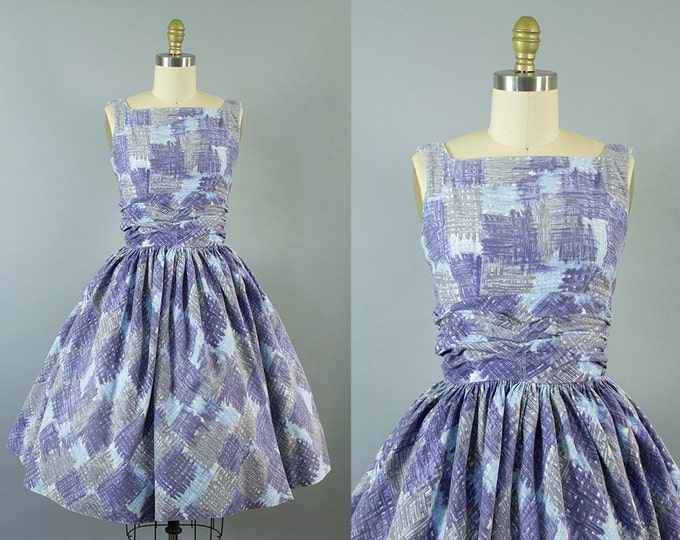 1950s gingham plaid sundress/ 50s blue cotton dress/ extra small xs