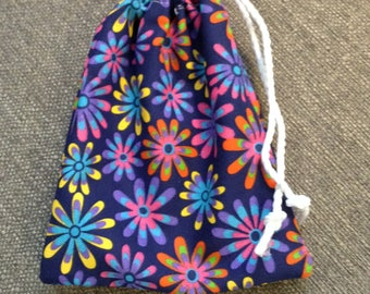 Flower print spinner or treasure bag