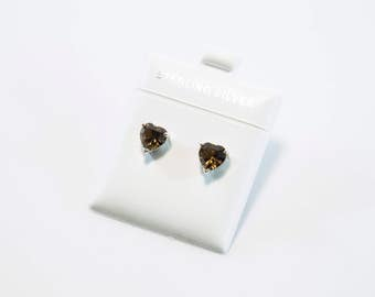 Heart-Shaped Smoky Quartz Earrings