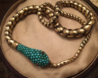 Substantial Victorian Snake Necklace With Pave Turquoise Set Head, circa 1860, High Carat Gold