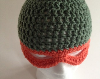 Ninja Turtles - Michel Angelo - Raphael - Leonard - Donatello Crochet Green Hat with Mask, Orange, Red, Blue, Purple Mask Beanie for Kids