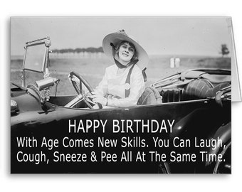 Funny Birthday Card, Girlfriend, Mom, Best Friend, Birthday Quotes, 50th Birthday, 60th Birthday, Funny Old Lady, With Age Comes New Skills
