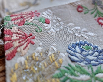 Rare 18th Century antique French silk brocade remnants embroidered floral pink & blue motif millinery, costume design, home decor couture