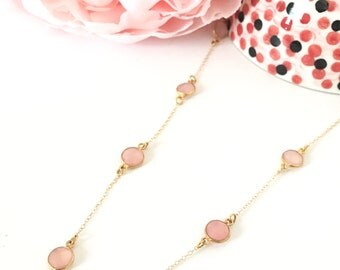 Dainty Pink Chalcedony with 14K Gold Chain Necklace, Gifts for Her, Valentine's Day Gifts, Pink Necklaces, Healing Crystal Necklaces