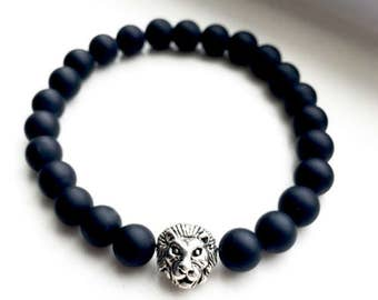 Matte Finish Black Onyx Silver Lion Head Bracelet, Protection Bracelet, Unisex Bracelet, Wellness Bracelet, Birthday Gift Idea