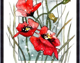 Flower Watercolor Painting - Floral Art Print - Watercolor Flower Watercolor Painting Flower Painting Floral Art.Poppies 129