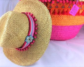 Limited Edition Pom Pom Fedora Straw Sun Beach Hat S/M