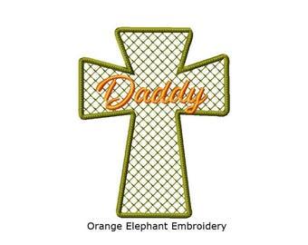 Memory Cross Daddy Unique Urban Machine Embroidery Design digital File