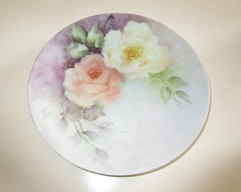 HAND PAINTED PLATE with Roses
