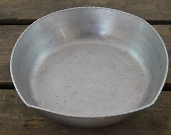 Vintage Aluminum Bowl with Scalloped Edges and Floral Motif
