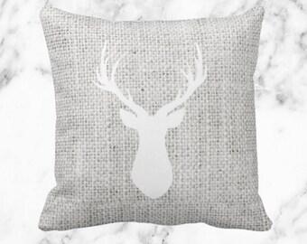 Gray Burlap White Deer // Holiday Decor Throw Pillow