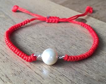 Cultured Pearl Bracelet - Freshwater Pearl 925 Sterling Silver Adjustable Red Cord Bracelet