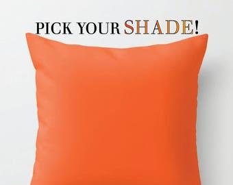 Orange Throw Pillow, Decorative Pillow, 16x16 18x18 20x20, Light Orange Pillow Cover, Dark Orange Sofa Decor, Bright Orange Pillow Case