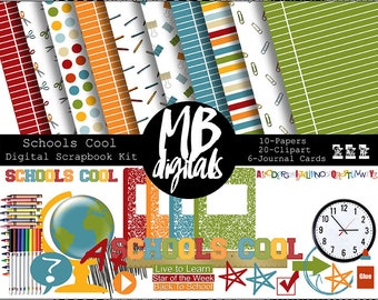 SCHOOL Scrapbook Kit, Papers, Clipart, Journal Cards, School Theme, Globe, Clock, Composition, Ruler, Notebook Paper, INSTANT DOWNLOAD