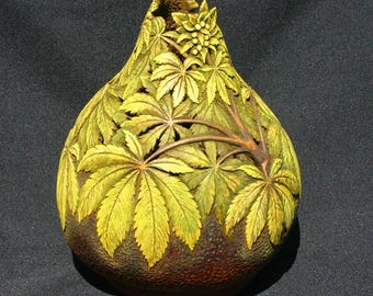 Hand Carved Gourd With Cannabis