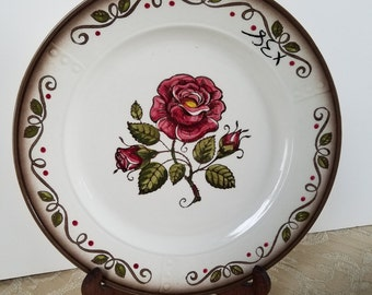 Two (2) Metlox Poppytrail Provencial Rose Vintage Dinner Plates; 1958-1961; Made in California USA