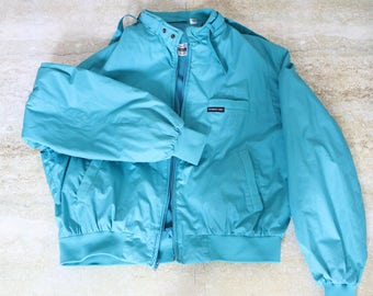 Members Only teal windbreaker jacket, size men's 46 / medium - large - vintage