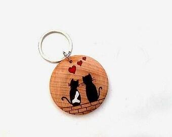 Cat Keyring, Cat Keychain, Cat Lover Gift, Cat Lady Gift, Animal Keyring, Cat Gift, Stocking Fillers, Animal Lover Gift, Black Cat Present