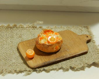 Miniature Handmade Candied Orange Peel and Marmalade Boule Round Bread, 1:12 scale Dollhouse Mini Collector Bakery Item