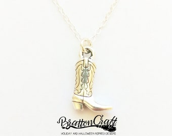 Silver Cowboy Boot Necklace - Western Boot Necklace - Cowgirl Boot Necklace - Fun Cowboy Boot Necklace - Cowboy Jewelry - Western Jewelry