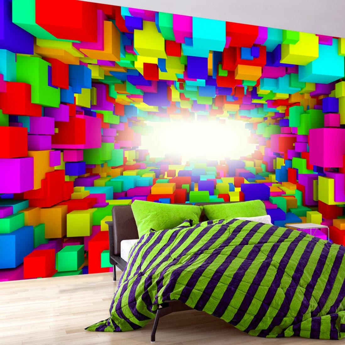 photo wallpaper wall murals non woven 3d squares modern art. Black Bedroom Furniture Sets. Home Design Ideas