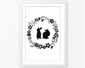 Rabbit silhouette illustration,instant download,kids wall art,digital file,kids poster,black and white,monochromatic,modern nursery decor