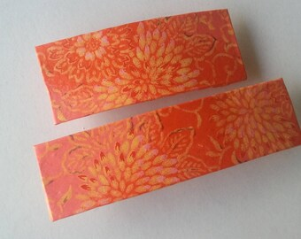 Red Origami Hair Barrettes